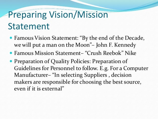 Preparing a mission statement