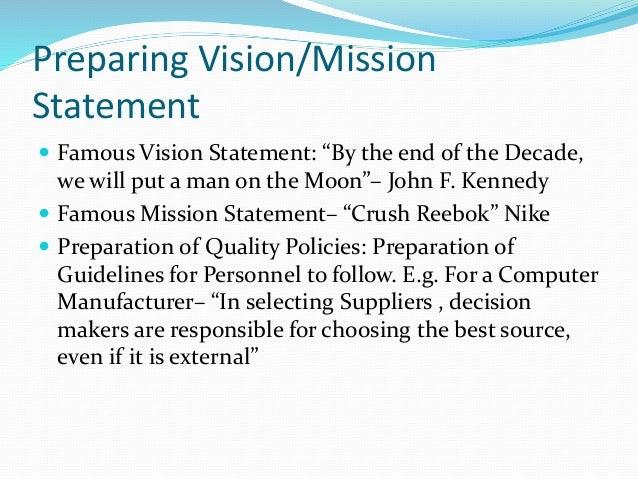 Preparing a mission statement