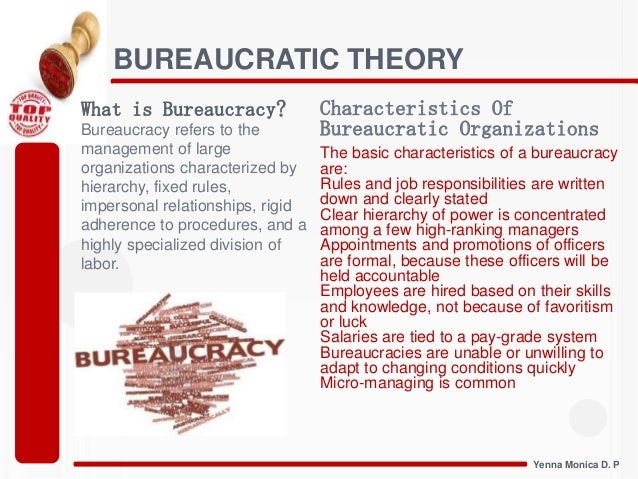 bureaucratic management theory Max weber and bureaucratic theory weber was born in germany in 1864 and grew up during the time when industrialization was transforming government, business, and society weber was interested in industrial capitalism , an economic system where industry is privately controlled and operated for profit.