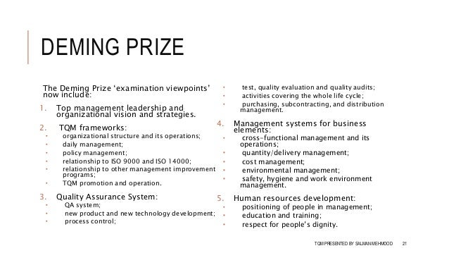 total quality management deming prize management essay View homework help - bsop-326 total quality management week 2 quality awards and standards_discussion _question 2_answer from bsop 326 326 at devry university, chicago.