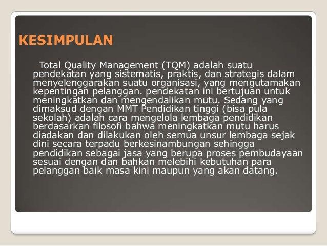 Total Quality Management Tqm Kasus