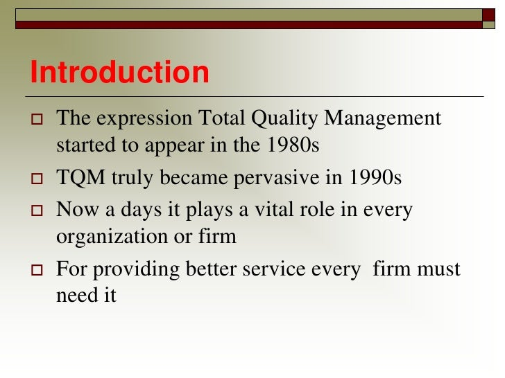 """total quality management that will satisfy customers need both internal and external That bears on its ability to satisfy given needs """" • quality is fitness for use  customer (internal and external) aimed at satisfaction at the customer level  total quality management has a close relationship between the below two quality parameters jit–just in time."""