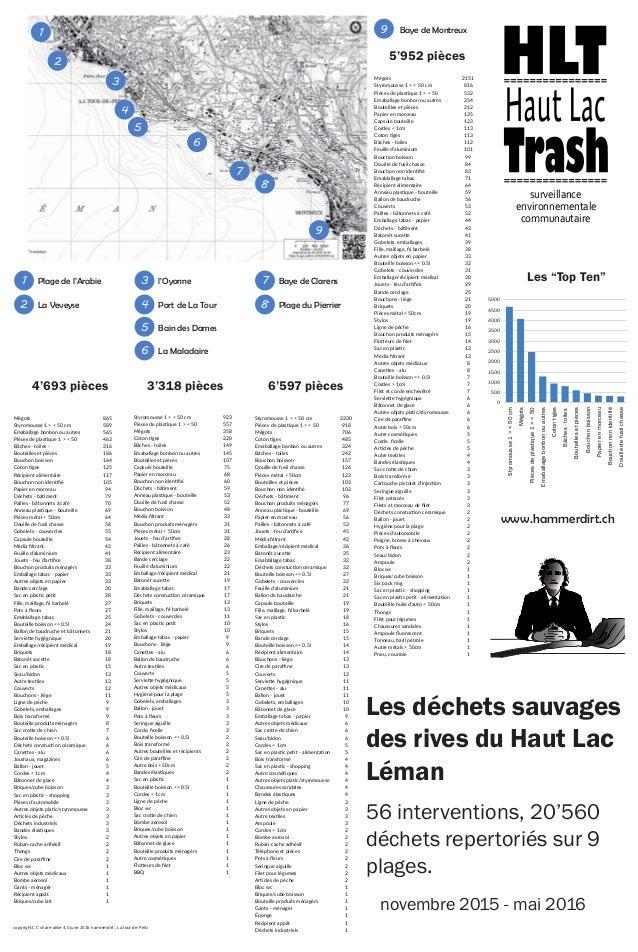 1 2 3 4 5 6 7 8 9 Baye de Montreux9 Mégots 2151 Styromousse 1 > < 50 cm 816 Pièces de plastique 1 > < 50 532 Emaballage bo...