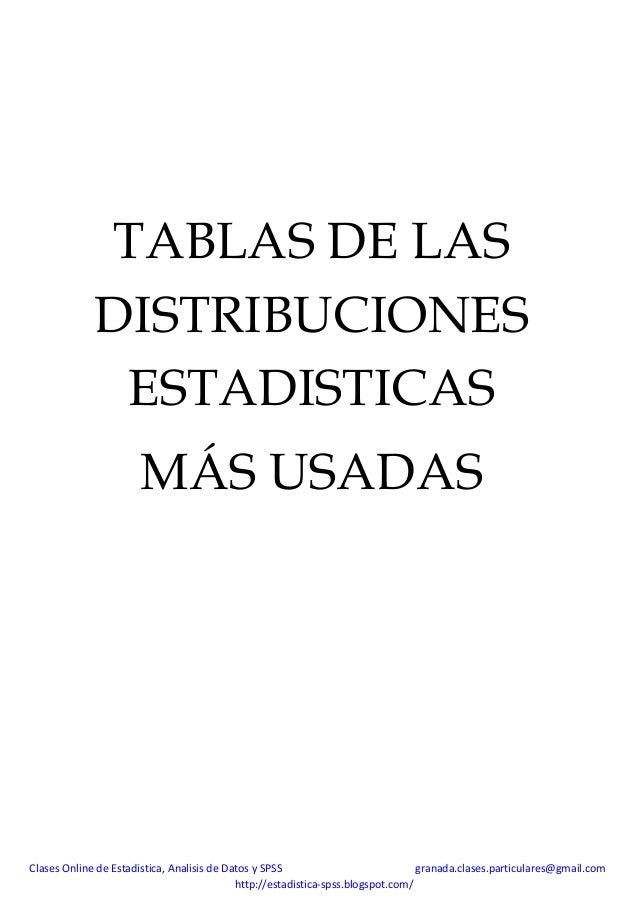 TABLAS DE LAS DISTRIBUCIONES ESTADISTICAS MÁS USADAS  Clases Online de Estadistica, Analisis de Datos y SPSS granada.clase...