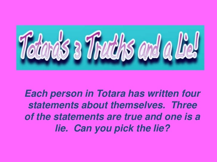 Each person in Totara has written four statements about themselves. Threeof the statements are true and one is a       lie...