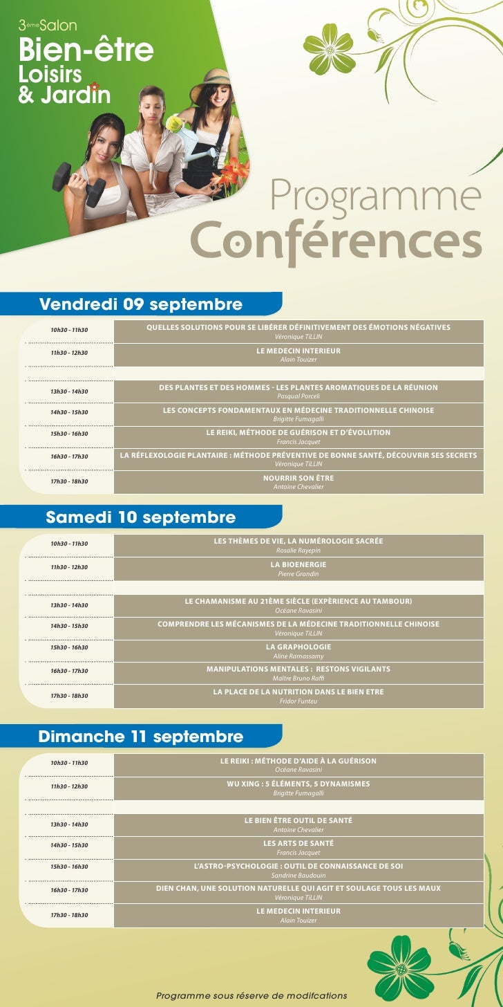 3 Salon èmeBien-êtreLoisirs& Jardin                                                         Programme                     ...