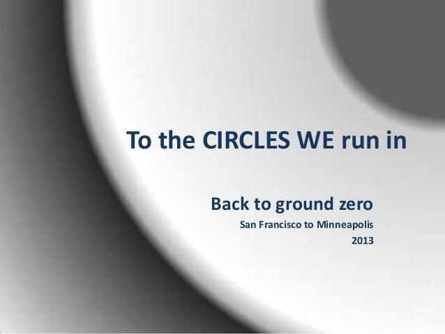 To the CIRCLES WE run in Back to ground zero San Francisco to Minneapolis 2013