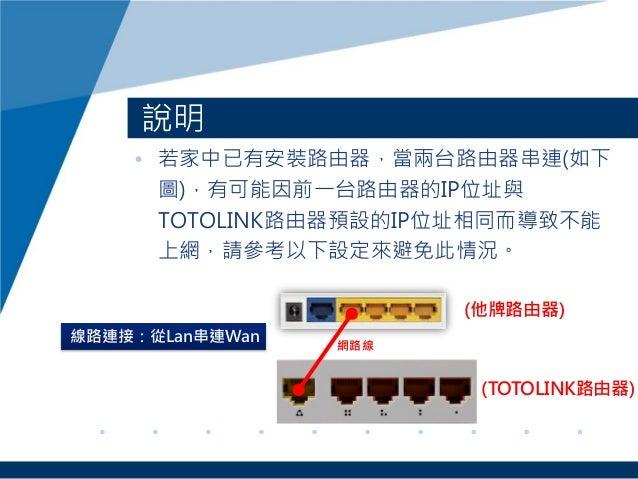 • 若家中已有安裝路由器,當兩台路由器串連(如下 圖),有可能因前一台路由器的IP位址與 TOTOLINK路由器預設的IP位址相同而導致不能 上網,請參考以下設定來避免此情況。 說明 (他牌路由器) 網路線 線路連接:從Lan串連Wan (TO...