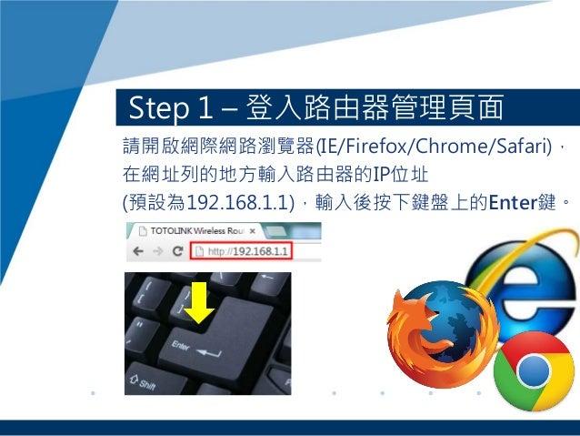 Step 1 – 登入路由器管理頁面 請開啟網際網路瀏覽器(IE/Firefox/Chrome/Safari), 在網址列的地方輸入路由器的IP位址 (預設為192.168.1.1),輸入後按下鍵盤上的Enter鍵。