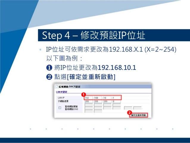 Step 4 – 修改預設IP位址 • IP位址可依需求更改為192.168.X.1 (X=2~254) 以下圖為例: ❶ 將IP位址更改為192.168.10.1 ❷ 點選[確定並重新啟動]