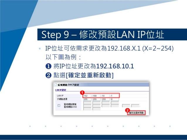 Step 9 – 修改預設LAN IP位址 • IP位址可依需求更改為192.168.X.1 (X=2~254) 以下圖為例: ❶ 將IP位址更改為192.168.10.1 ❷ 點選[確定並重新啟動]