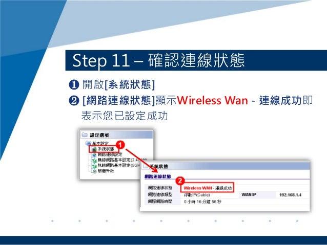 Step 11 – 確認連線狀態 ❶ 開啟[系統狀態] ❷ [網路連線狀態]顯示Wireless Wan - 連線成功即 表示您已設定成功