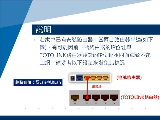 • 若家中已有安裝路由器,當兩台路由器串連(如下 圖),有可能因前一台路由器的IP位址與 TOTOLINK路由器預設的IP位址相同而導致不能 上網,請參考以下設定來避免此情況。 說明 (他牌路由器) 網路線 (TOTOLINK路由器) 線路連接...