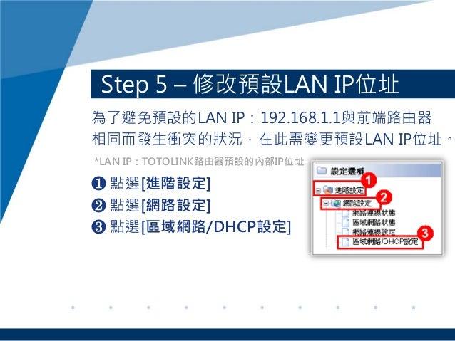 Step 5 – 修改預設LAN IP位址 為了避免預設的LAN IP:192.168.1.1與前端路由器 相同而發生衝突的狀況,在此需變更預設LAN IP位址。 ❶ 點選[進階設定] ❷ 點選[網路設定] ❸ 點選[區域網路/DHCP設定] ...
