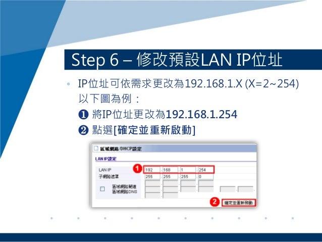 Step 6 – 修改預設LAN IP位址 • IP位址可依需求更改為192.168.1.X (X=2~254) 以下圖為例: ❶ 將IP位址更改為192.168.1.254 ❷ 點選[確定並重新啟動]