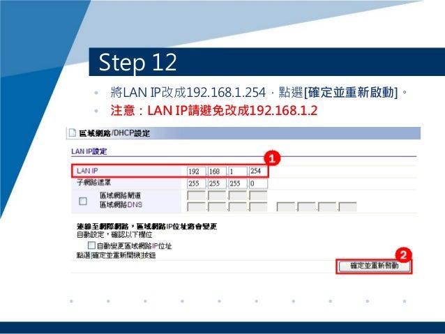 Step 12 • 將LAN IP改成192.168.1.254,點選[確定並重新啟動]。 • 注意:LAN IP請避免改成192.168.1.2