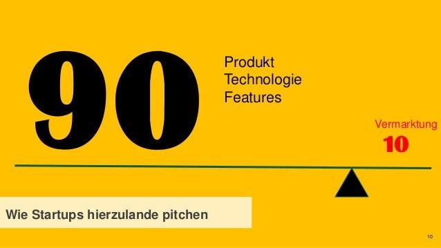 10 10 Wie Startups hierzulande pitchen Produkt Technologie Features Vermarktung