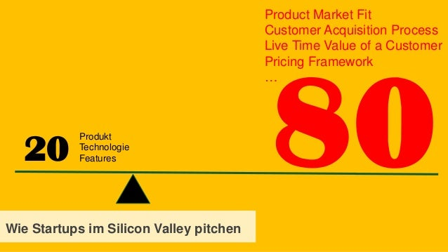 20 Wie Startups im Silicon Valley pitchen Produkt Technologie Features Product Market Fit Customer Acquisition Process Liv...