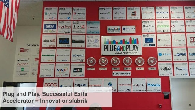 15 Plug and Play, Successful Exits Accelerator = Innovationsfabrik