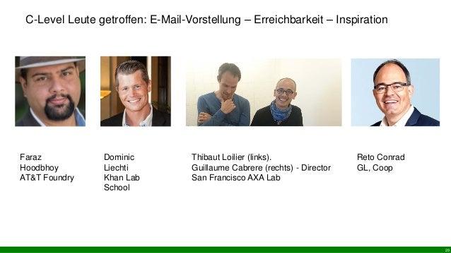 C-Level Leute getroffen: E-Mail-Vorstellung – Erreichbarkeit – Inspiration 29 Faraz Hoodbhoy AT&T Foundry Dominic Liechti ...