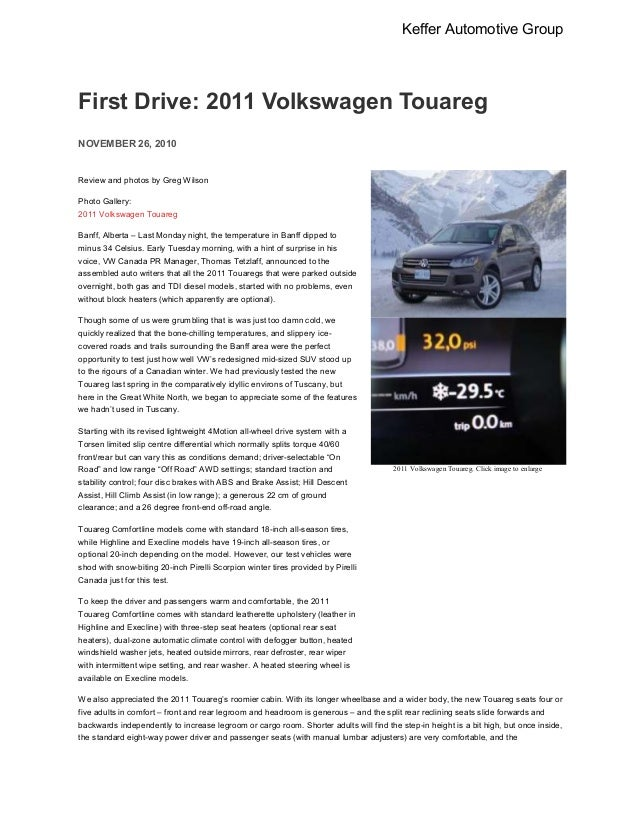 2011 Volkswagen Touareg-Evidence Manual