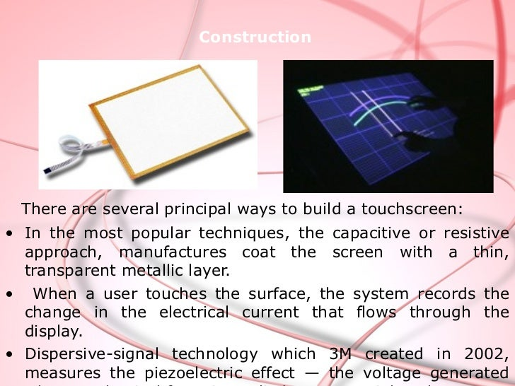 TYPES OF TOUCHSCREEN  Resistive Touch screen  Surface wave Touch screen  Capacitive Touch screen         *Surface capac...