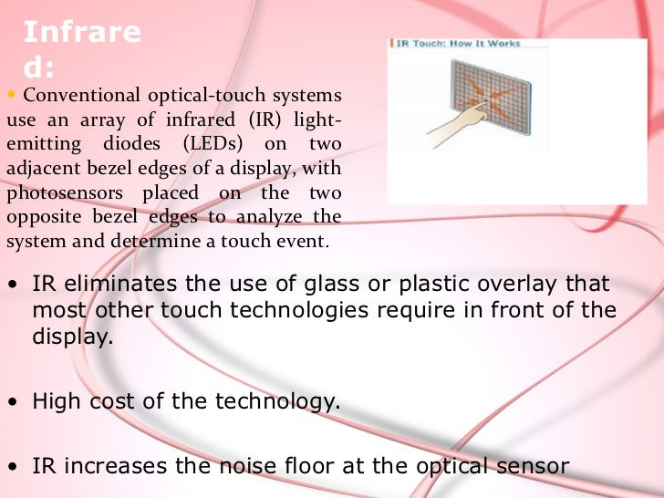 Technology      Capacitive      SAW                Infrared           ResistiveTransparence    Very good       Very good  ...