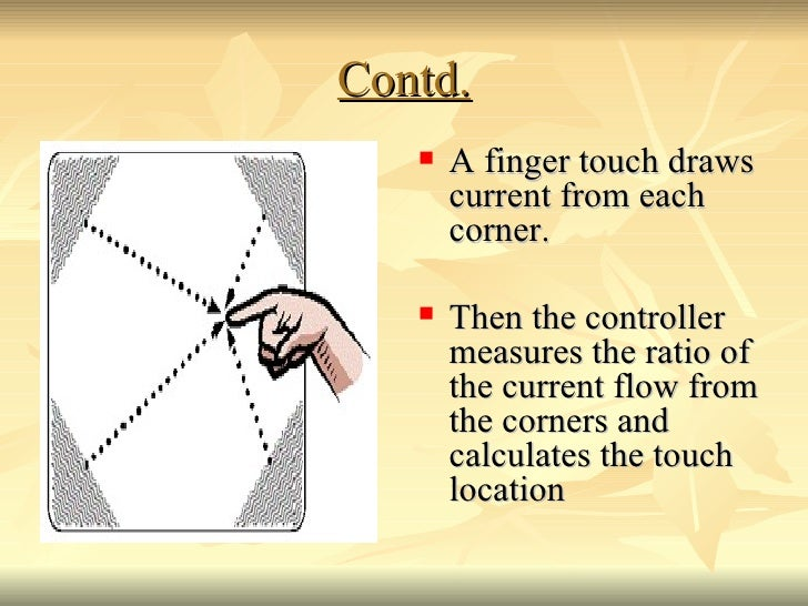 Contd. <ul><li>A finger touch draws current from each corner. </li></ul><ul><li>Then the controller measures the ratio of ...
