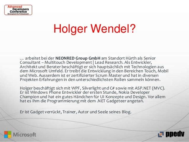 Holger Wendel? … arbeitet bei der NEONRED Group GmbH am Standort Hürth als Senior Consultant – Multitouch Development | Le...