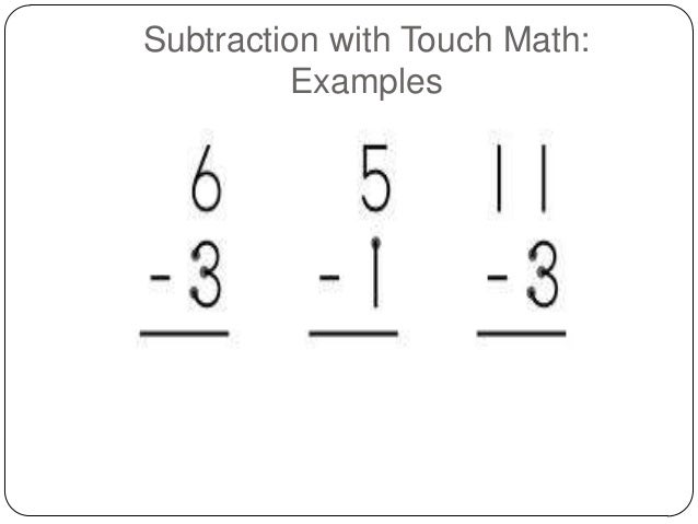Worksheet Touch Math Worksheet touchy touch math subtraction with examples