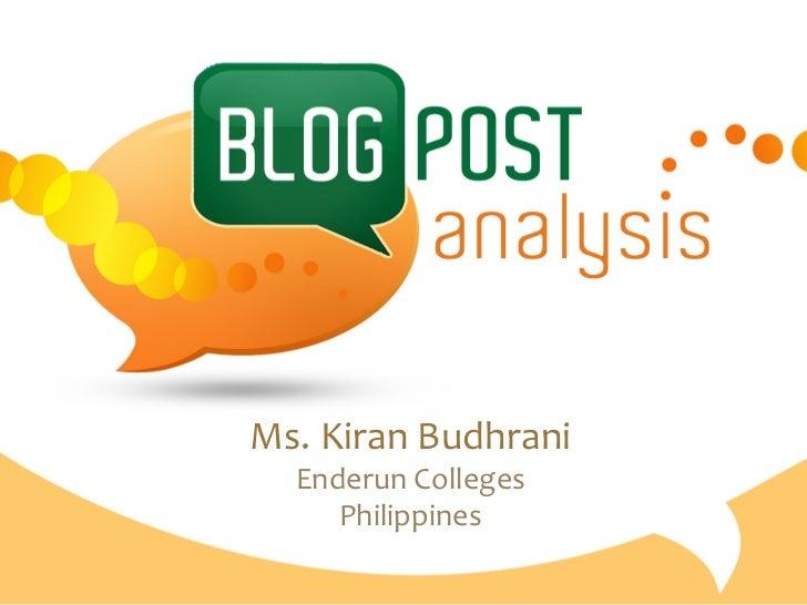 Ms. Kiran Budhrani    Enderun Colleges       Philippines