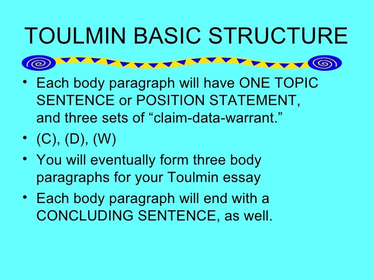 toulmin essay format Step by step help in writing your argument paper instructions using classical, rogerian and toulmin argument strategies.