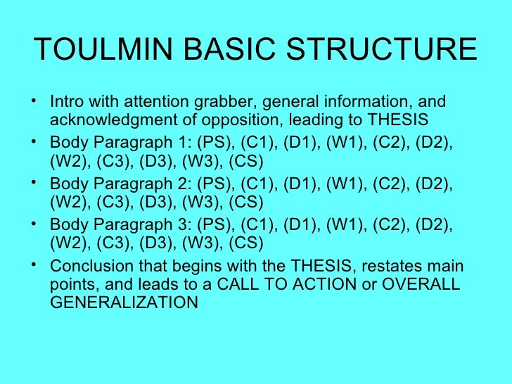 toulmin essay structure Toulmin argument essaypdf - download as pdf file (pdf), text file (txt) or read online.