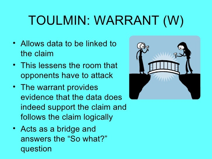 warrant in a toulmin essay Toulmin argumentation is a model of argument which suggests six parts in any argumentative text these elements include: data, claim, warrants, qualifiers, rebuttals.