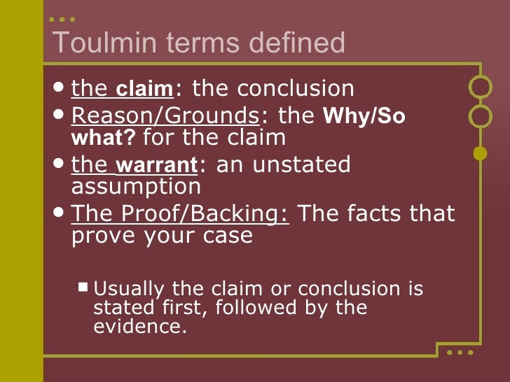 toulmin essay conclusion As the figure shows, the claim in a typical academic paper will usually be found  in its conclusion but in many papers, as we all know, the claim cannot be.