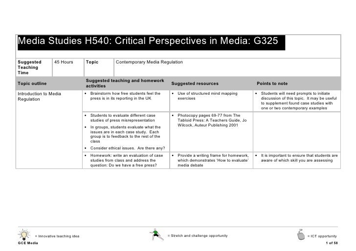 Media Studies H540: Critical Perspectives in Media: G325Suggested          45 Hours          Topic           Contemporary ...