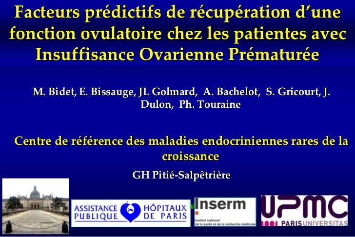 Facteurs prédictifs de récupération d'une fonction ovulatoire chez les patientes avec Insuffisance Ovarienne Prématurée<br...