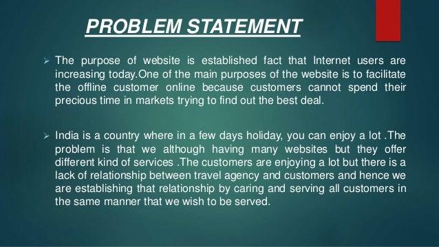 Problem statement for tourism management