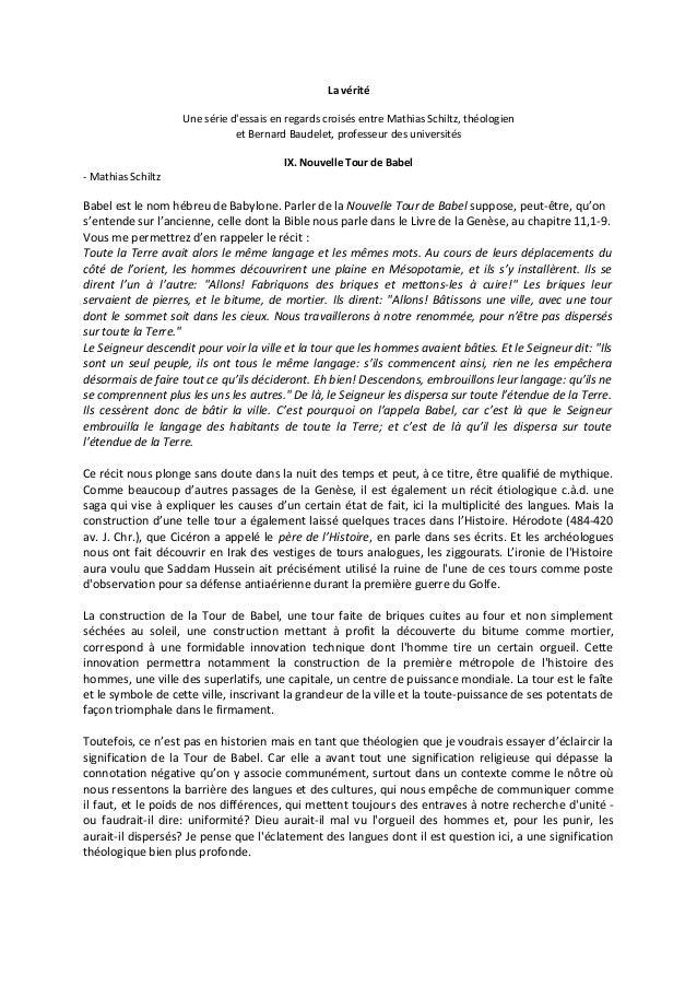 La vérité Une série d'essais en regards croisés entre Mathias Schiltz, théologien et Bernard Baudelet, professeur des univ...