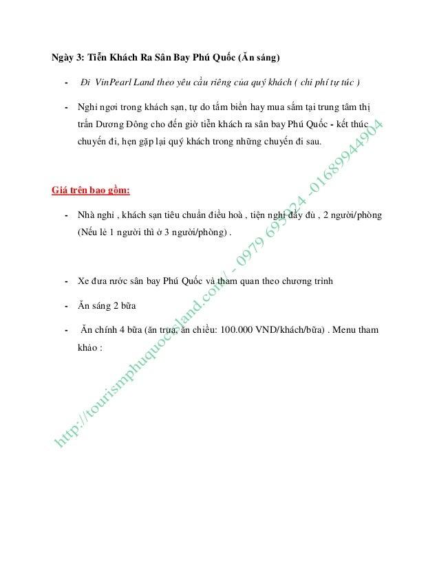 Ngày 3: Tiễn Khách Ra Sân Bay Phú Quốc (Ăn sáng) - Đi VinPearl Land theo yêu cầu riêng của quý khách ( chi phí tự túc ) - ...