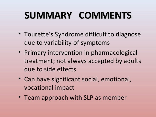 the characteristics of the tourette syndrome a neurological disorder