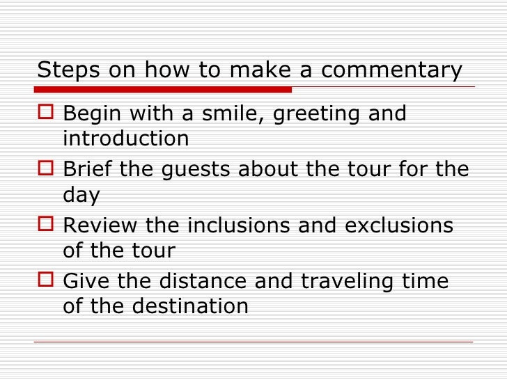 How To Make A Commentary In Tour Guiding