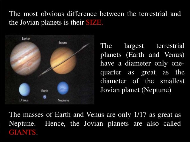 terrestrial vs jovian planets Perhaps the simplest way to express the major differences between the terrestrial and jovian worlds is to say that the jovian planets are everything the terrestrial.