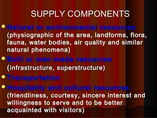 tourism components and supply