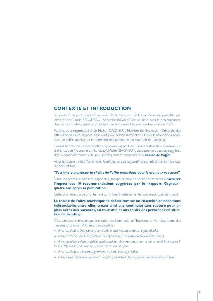 CONTEXTE ET INTRODUCTION Le présent rapport, élaboré au sein de la Section Droit aux Vacances présidée par Mme Marie-Claud...