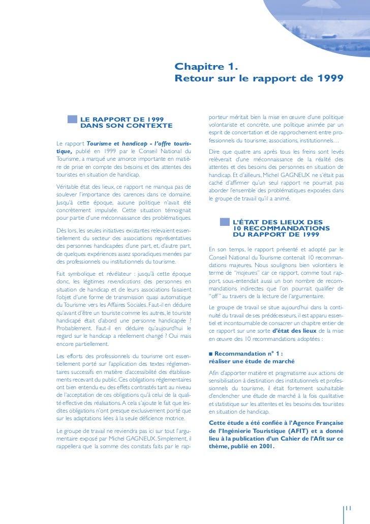 Chapitre 1.                                                        Retour sur le rapport de 1999               LE RAPPORT ...