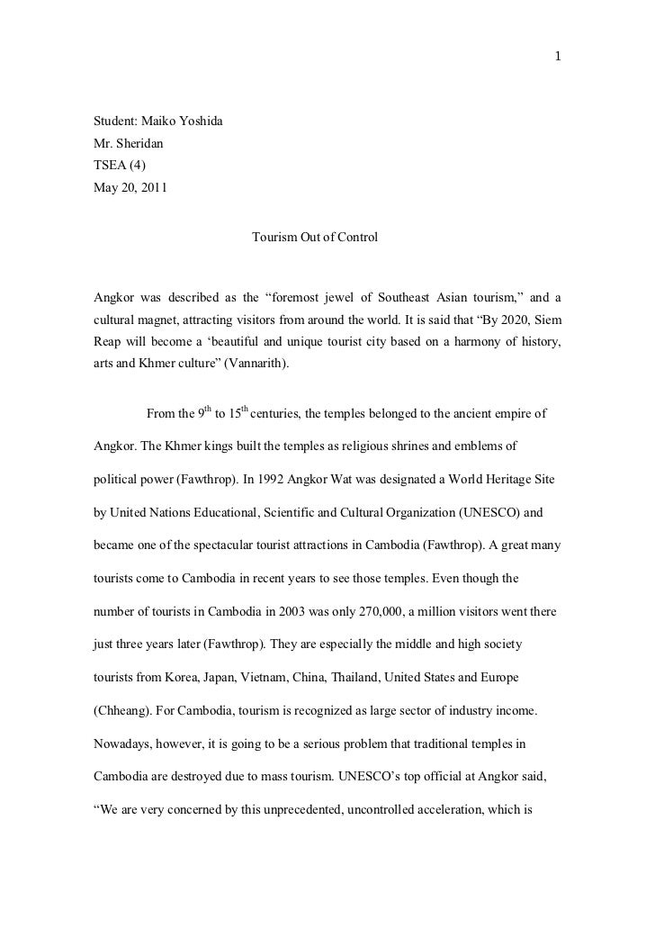 Essay on tourism