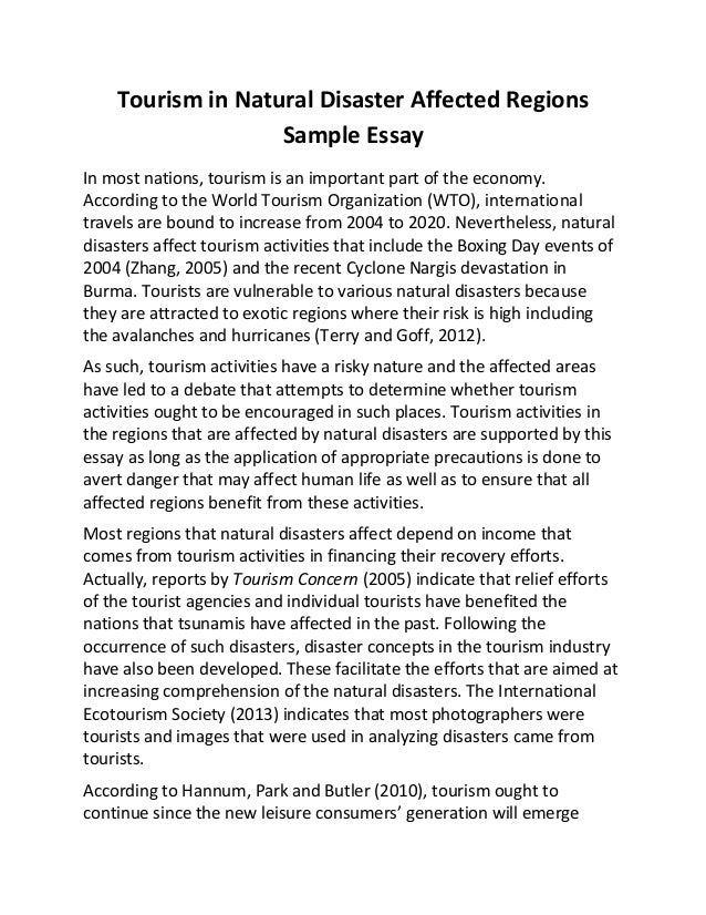 Tourism In Natural Disaster Affected Regions Sample Essay Tourism In Natural Disaster Affected Regions Sample Essay In Most Nations  Tourism Is An Important  English Extended Essay Topics also The Yellow Wallpaper Essay Topics Sample Narrative Essay High School
