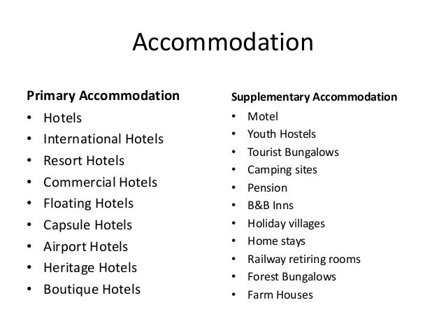 types of accommodation in tourism pdf