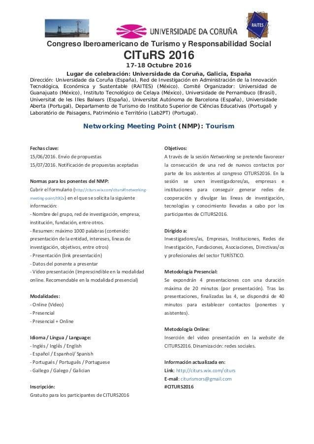 Congreso Iberoamericano de Turismo y Responsabilidad Social CITuRS 2016 17-18 Octubre 2016 Luga...